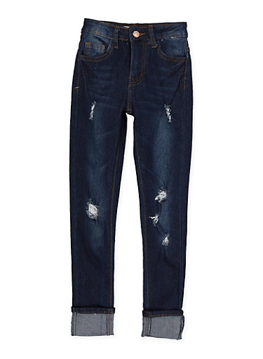 Girls 7-16 Rolled Cuffs Skinny Jeans,DENIM,large