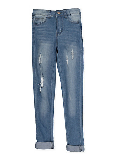 Girls 7-16 Distressed Jeans | Medium Wash,DENIM,large
