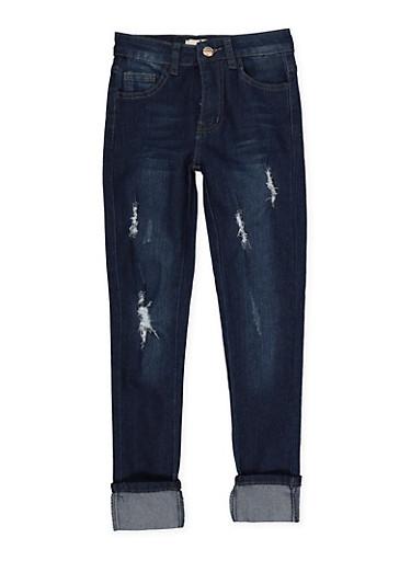 Girls 7-16 Distressed Jeans | Dark Wash,DENIM,large