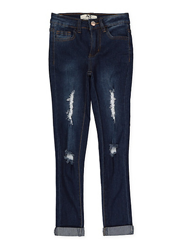 Girls 7-16 Rolled Cuff Skinny Jeans,DENIM,large