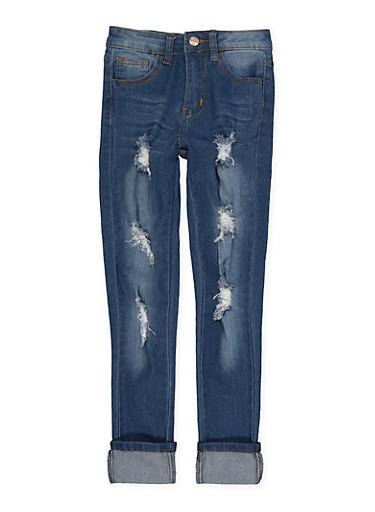 Girls 7-16 Distressed Jeans,DENIM,large