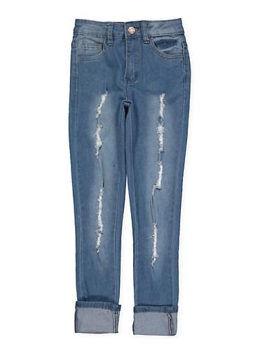 Girls 7-16 Rolled Cuff Frayed Jeans,DENIM,large