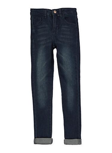 Girls 7-16 Whiskered Rolled Cuff Jeans | Dark Wash,DENIM,large