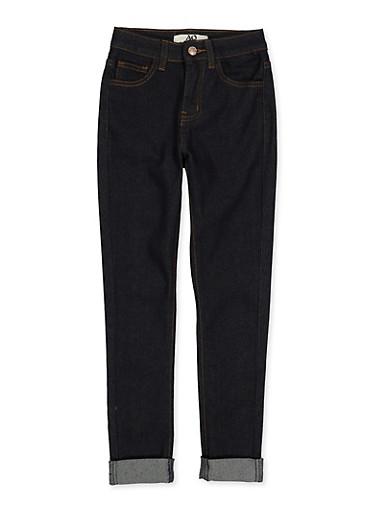 Girls 7-16 Roll Cuff Jeans,DENIM,large