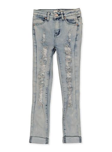 Girls 7-16 Destruction Roll Cuff Jeans,DENIM,large