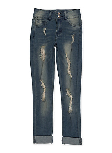 Girls 7-16 Two Button Rolled Cuff Jeans,DENIM,large