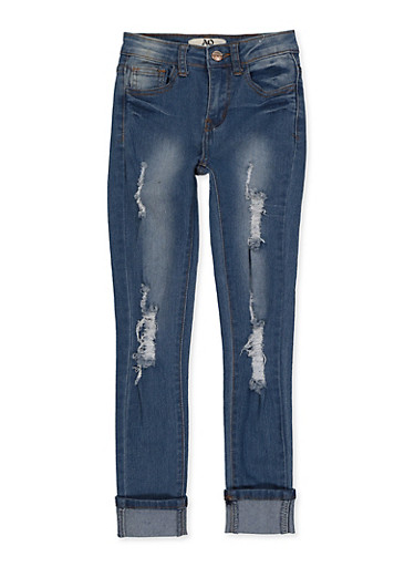 Girls 7-16 Frayed Roll Cuff Jeans,DENIM,large