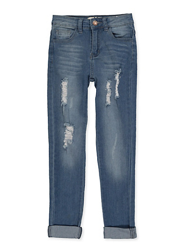 Girls 7-16 Distressed Roll Cuff Jeans,DENIM,large