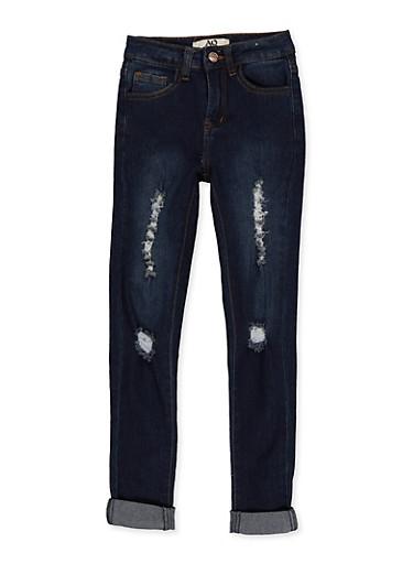 Girls 7-16 Rolled Cuff Jeans   1629056720401,DENIM,large