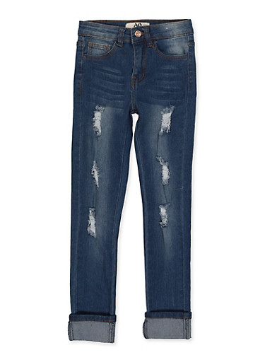 Girls 7-16 Whisker Wash Rolled Cuff Jeans,DENIM,large