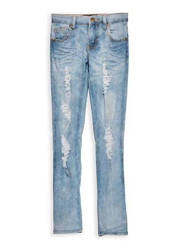 Girls 7-16 Destroyed Cloud Wash Skinny Jeans,LIGHT WASH,large