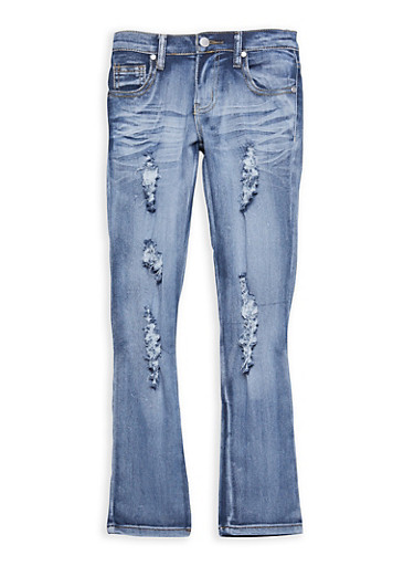 Girls 7-16 Distressed Light Wash Skinny Jeans,LIGHT WASH,large