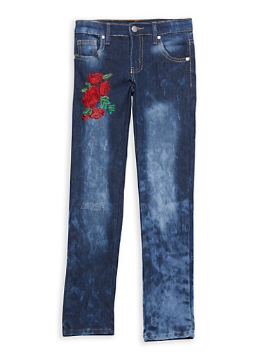 Girls 7-16 Rose Embroidered Jeans,DENIM,large