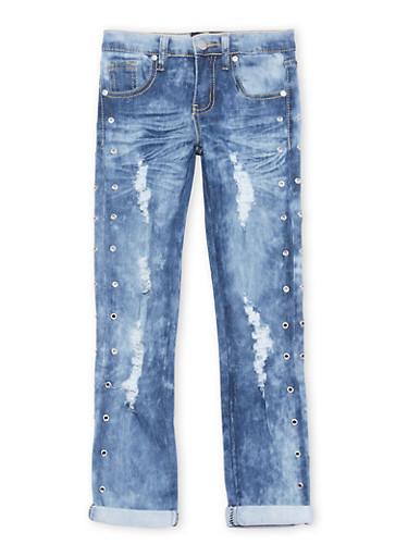 Girls 7-16 Grommet Studded Light Wash Jeans,LIGHT WASH,large