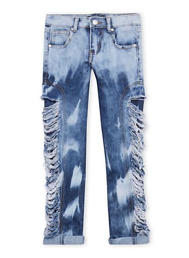 Girls 7-16 Destroyed Rip and Repair Jeans,DARK WASH,large