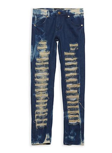 Girls 7-16 Destroyed Dark Wash Jeans,DARK WASH,large