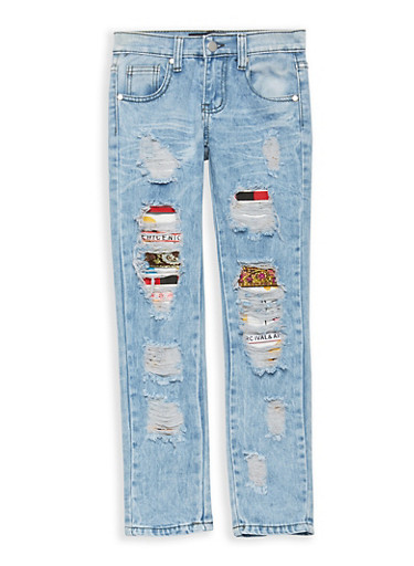 Girls 7-16 Emoji Patch and Repair Jeans,MEDIUM WASH,large