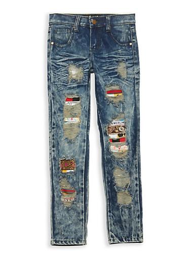 Girls 7-16 Emoji Patch and Repair Jeans,DARK WASH,large