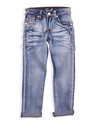 Girls 7-16 Light Wash Rhinestone Chain Link Jeans,LIGHT WASH,large