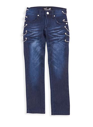 Girls 7-16 Dark Wash Rhinestone Chain Link Jeans,DARK WASH,large