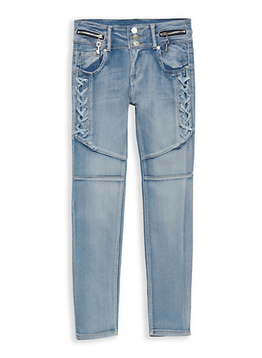 Girls 7-16 Light Wash Lace Up Jeans,LIGHT WASH,large