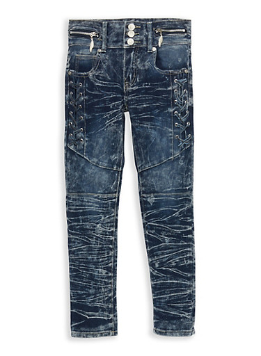Girls 7-16 Acid Wash Lace Up Jeans,DARK WASH,large