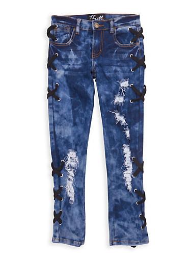 Girls 7-16 Black Lace Up Side Jeans,MEDIUM WASH,large