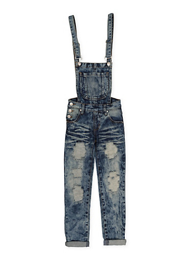 Girls 7-16 Ripped Acid Wash Denim Overalls,DENIM,large