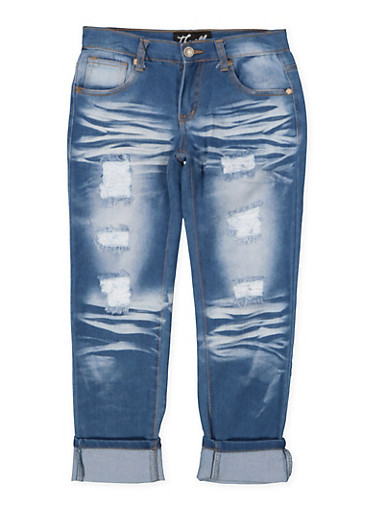 Girls 7-16 Whisker Wash Roll Cuff Jeans,DENIM,large
