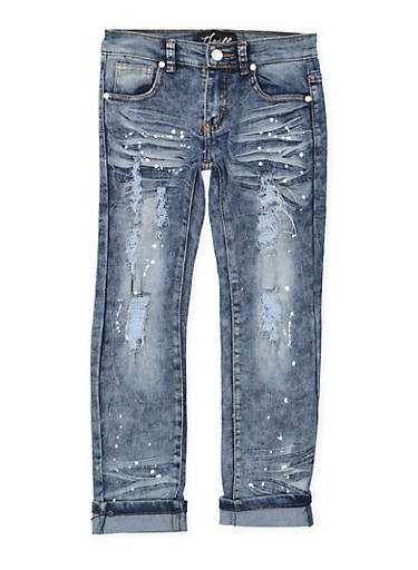 Girls 7-16 Distressed Paint Splatter Jeans,DENIM,large