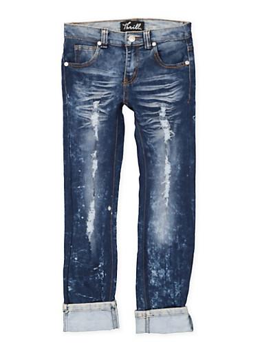 Girls 7-16 Rolled Cuff Distressed Jeans,DENIM,large
