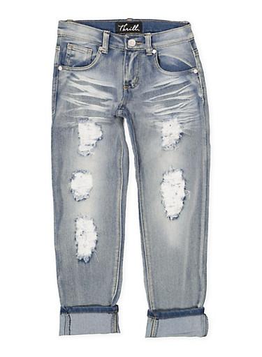 Girls 7-16 Whisker Wash Destruction Jeans,DENIM,large