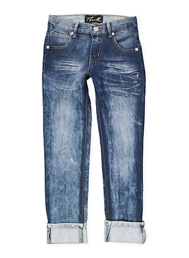 Girls 7-16 Faded Whisker Wash Jeans | Blue,DENIM,large
