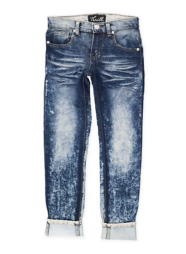 Girls 7-16 Rolled Cuff Whisker Wash Jeans,DENIM,large