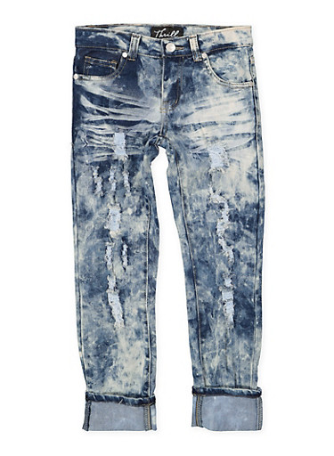 Girls 7-16 Frayed Rolled Cuff Jeans,DENIM,large
