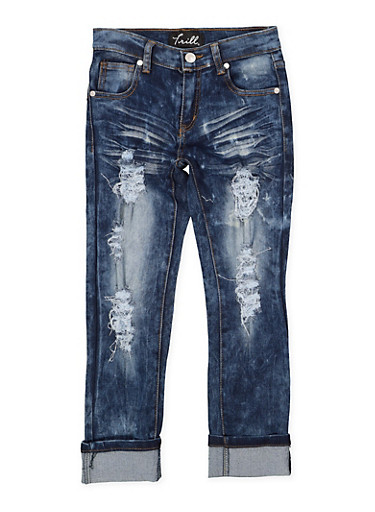 Girls 7-16 Destroyed Skinny Jeans,DENIM,large