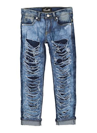 Girls 7-16 Rip and Repair Jeans,DENIM,large