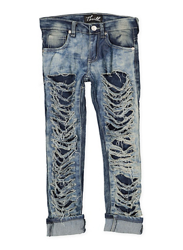 Girls 7-16 Destroyed Cloud Wash Jeans,DENIM,large