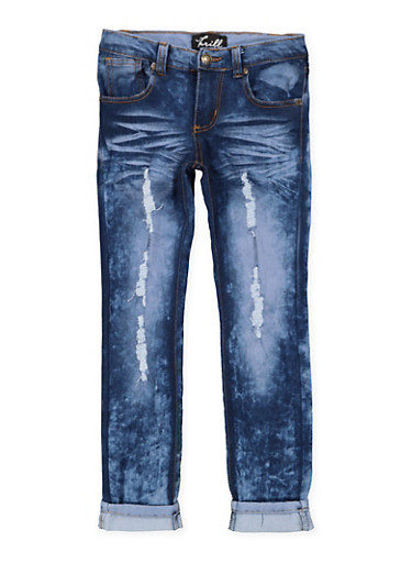 Girls 7-16 Distressed Rolled Cuff Jeans,DENIM,large