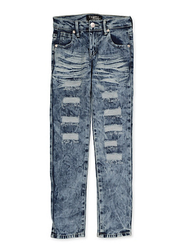 Girls 7-16 Whisker Wash Frayed Jeans,DENIM,large