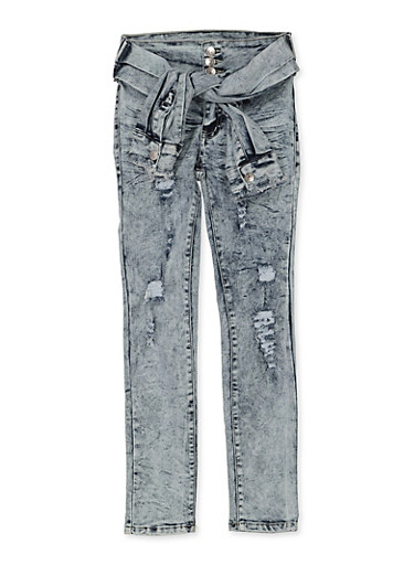 Girls 7-16 Tie Waist Distressed Jeans,DENIM,large