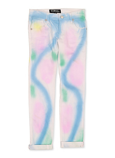 Girls 7-16 Tie Dye Wash Jeans,DENIM,large