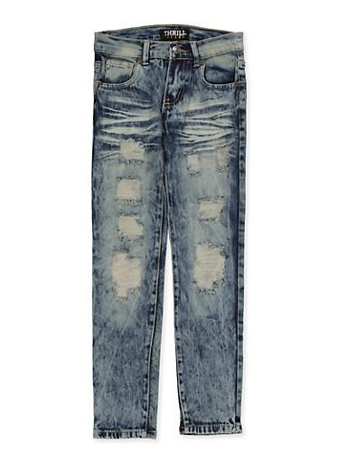 Girls 7-16 Destruction Whisker Wash Jeans,DENIM,large