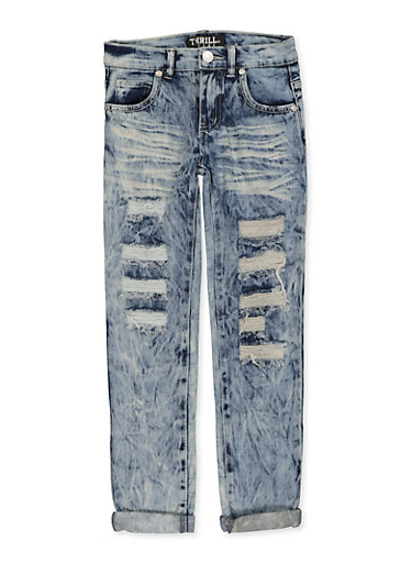 Girls 7-16 Whiskered Jeans,DENIM,large
