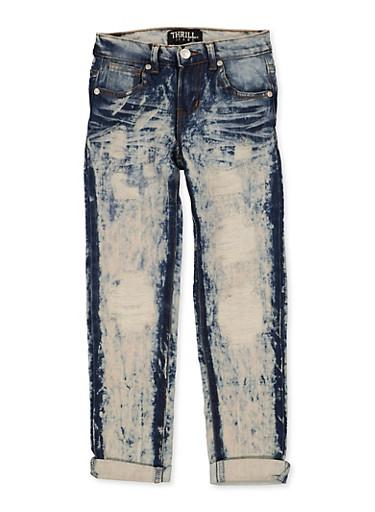 Girls 7-16 Fixed Cuff Destruction Jeans,DENIM,large