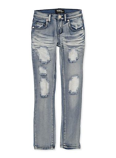 Girls 7-16 Whisker Wash Jeans,DENIM,large