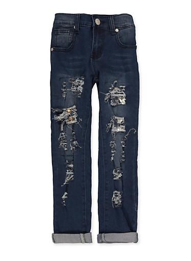 Girls Sequin Rip and Repair Jeans,DENIM,large