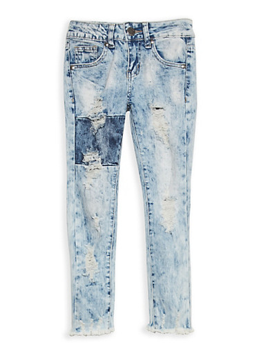 Girls 7-16 VIP Distressed Acid Wash Jeans,MEDIUM WASH,large