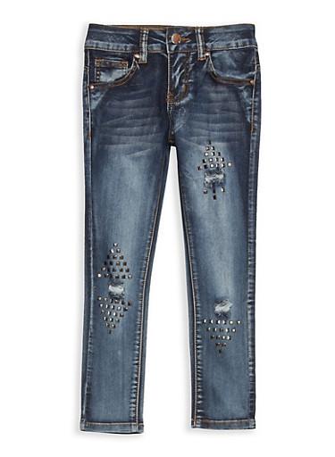 Girls 7-16 VIP Studded Distressed Jeans,DARK WASH,large