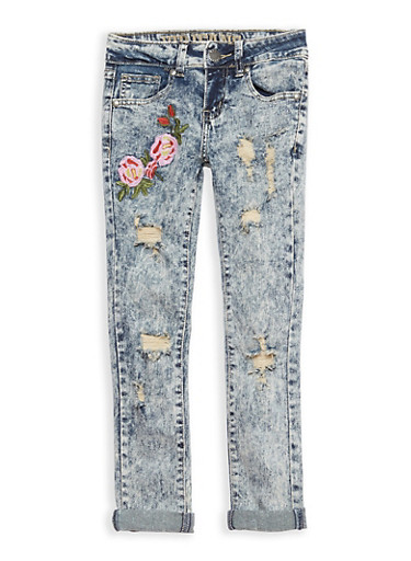 Girls 7-16 VIP Acid Wash Floral Embroidered Skinny Jeans,DARK WASH,large
